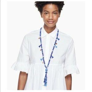 Kate Spade Long Pendant Tassle Beaded Necklace